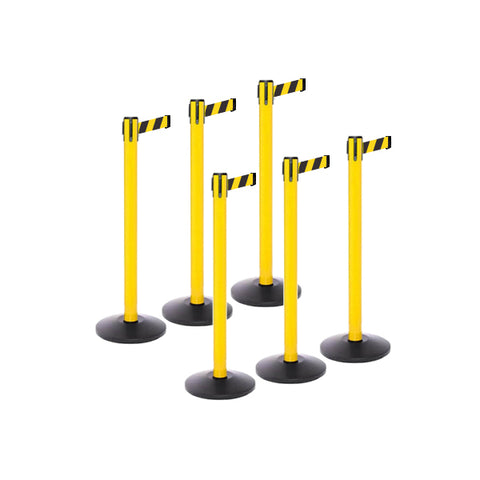Safety Bundle: 6 Yellow Retractable Belt Barriers 11-13FT
