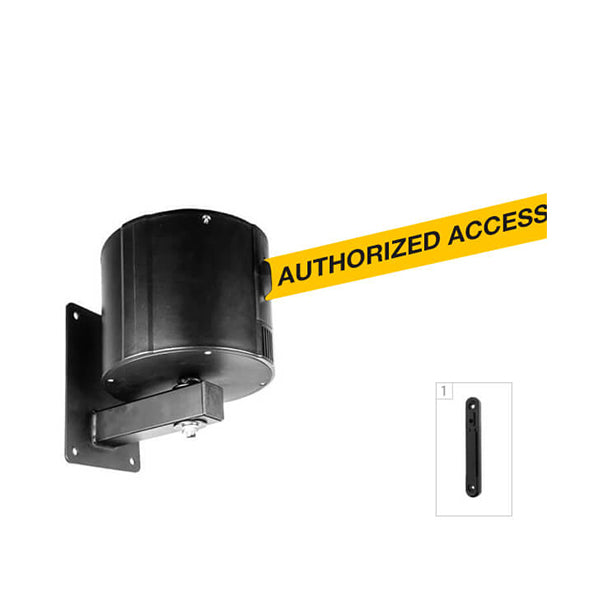WallPro 750: 55-75ft Retractable Belt Barrier Wall Mounted - Authorized Access Only (Yellow)