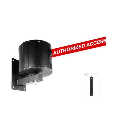 WallPro 750: 55-75ft Retractable Belt Barrier Wall Mounted - Authorized Access Only (Red)