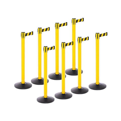 Safety Bundle: 8 Yellow Retractable Belt Barriers 11-13FT