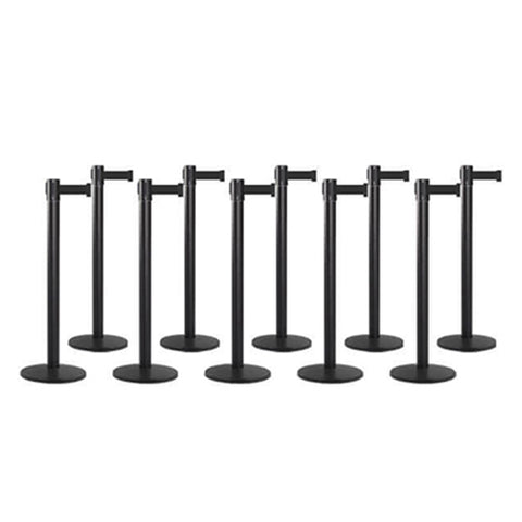 Bundle of 10 Black Retractable Belt Barriers 11-13FT