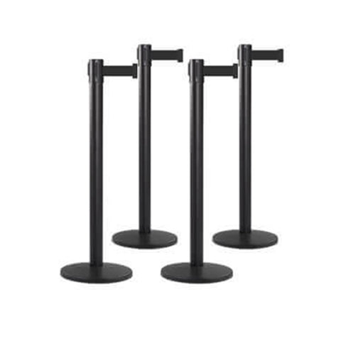 Bundle of 4 Black Retractable Belt Barriers 11-13FT