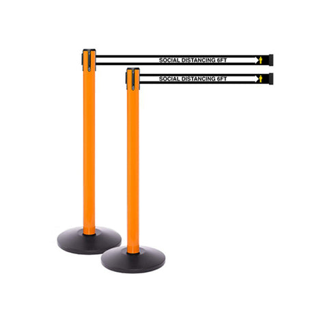 SafetyMaster 250 OR: Pack of (2) 13ft Social Distancing Retractable Belt Barrier - Orange