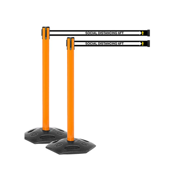WeatherMaster 250 OR: Pack of (2) 13ft Outdoor Social Distancing Retractable Belt Barrier - Orange