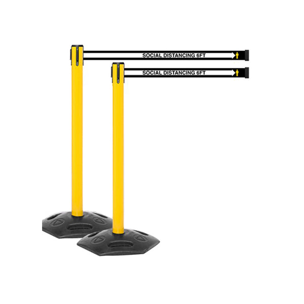 WeatherMaster 250 YW: Pack of (2) 13ft Outdoor Social Distancing Retractable Belt Barrier - Yellow