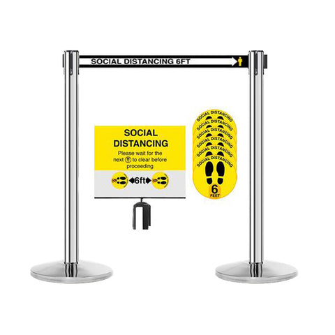 13ft Social Distancing Stainless Posts Bundle + Social Distancing Sign and Sticker Bundle