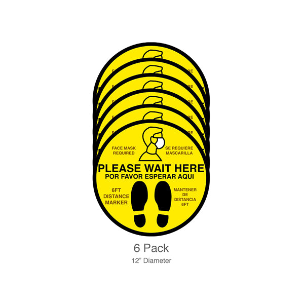 Please Wait Here/Face Mask Required, Floor Decals, 12-inch, 6-pack,