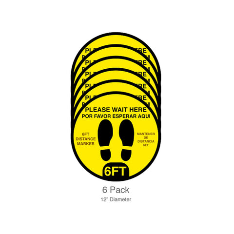 Please Wait Here, Floor Decals, 12-inch, 6-pack