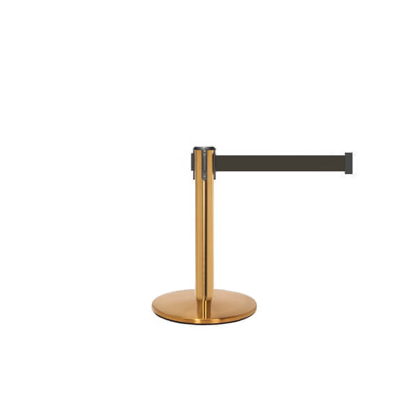 QueuePro 250 Mini: 13ft Gallery Mini Retractable Belt Barrier (Satin Brass)