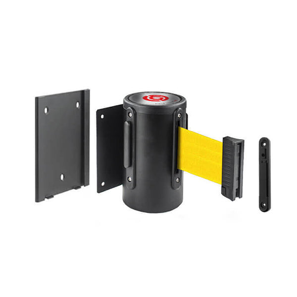 Removable WallMaster 400: 15ft Steel Wall Mounted Retractable Belt Barrier