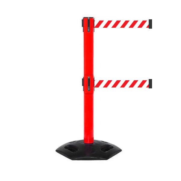 WeatherMaster 300 Twin: 16ft Heavy Duty Outdoor Safety Retractable Belt Barrier (Red)