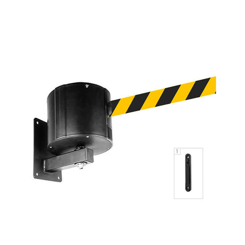 WallPro 750: 55-75ft Retractable Belt Barrier Wall Mounted - Yellow/Black Belt