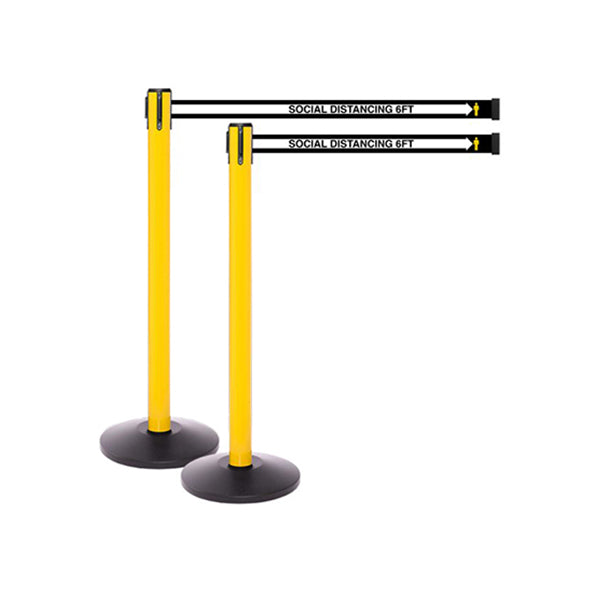 SafetyMaster 250 YW: Pack of (2) 13ft Social Distancing Retractable Belt Barrier - Yellow