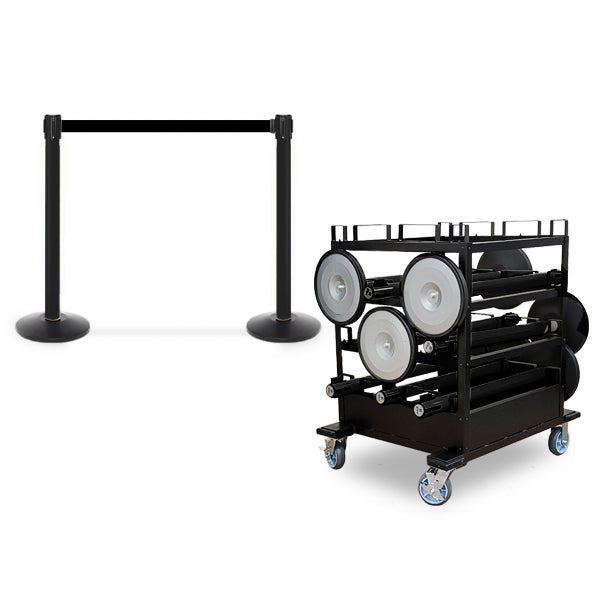 Mini Cart Package With Tray Set Of 10 Black Posts 13ft belt