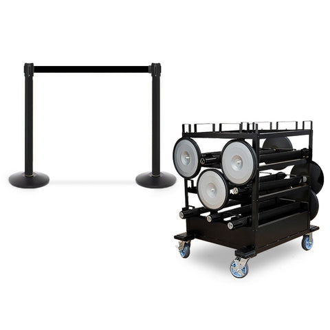 Mini Cart Package With Tray Set Of 8/10/12 Black Posts 13ft belt