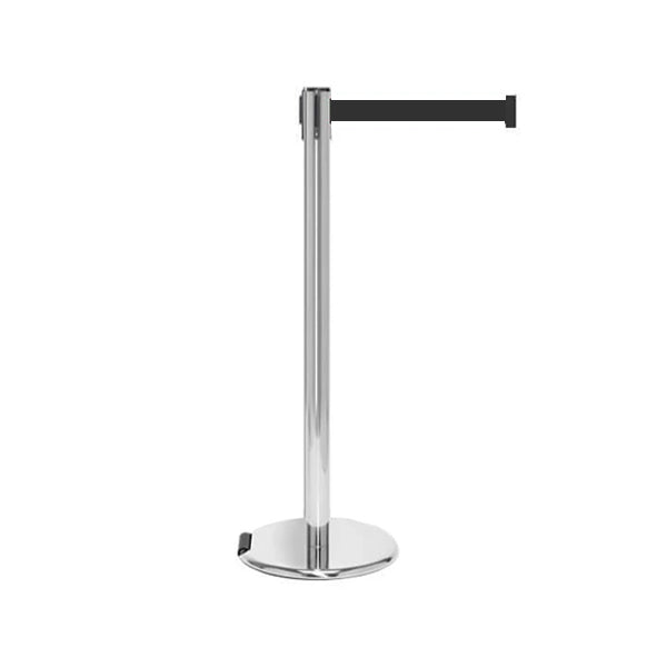 RollerPro 250: 11-13ft Rolling Retractable Belt Stanchion (Satin Stainless)