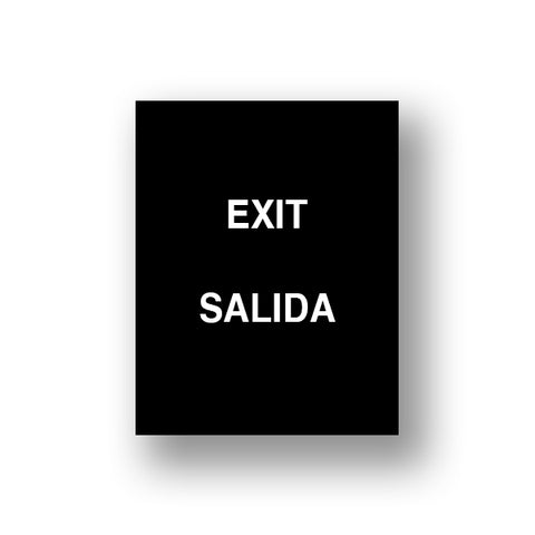 Black Exit/Salida (Double Sided Sign Insert)