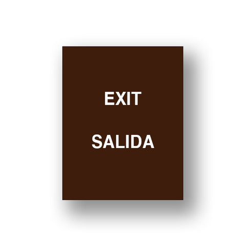 Brown Exit/Salida (Double Sided Sign Insert)