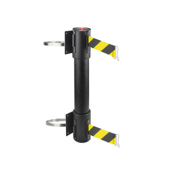 WallMaster 400 Twin Clamp: 13-15ft Twin Wall Mounted Retractable Belt Barrier