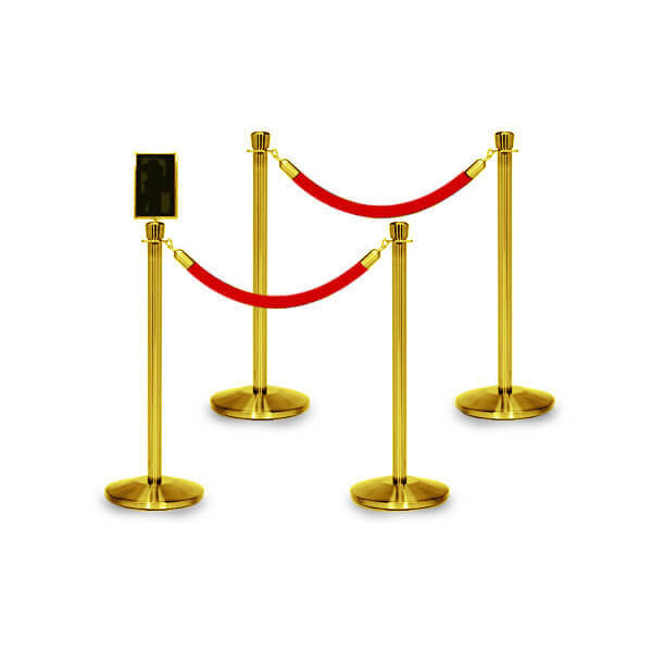 Bundle of 4 Classic Polished Brass Stanchions - 6FT Ropes