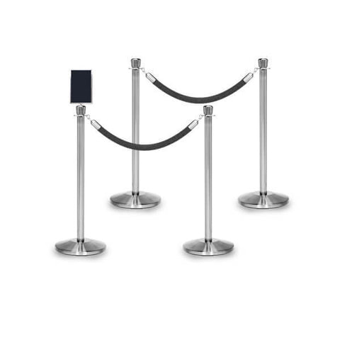 Bundle of 4 Classic Polished Stainless Stanchions - 6FT Ropes