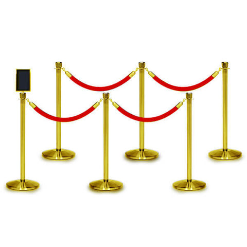Bundle of 6 Classic Polished Brass Stanchions - 6FT Ropes