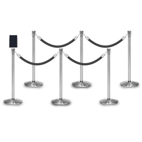 Bundle of 6 Classic Polished Stainless Stanchions - 6FT Ropes