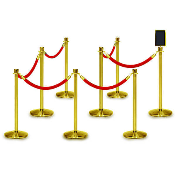 Bundle of 8 Classic Polished Brass Stanchions - 6FT Ropes