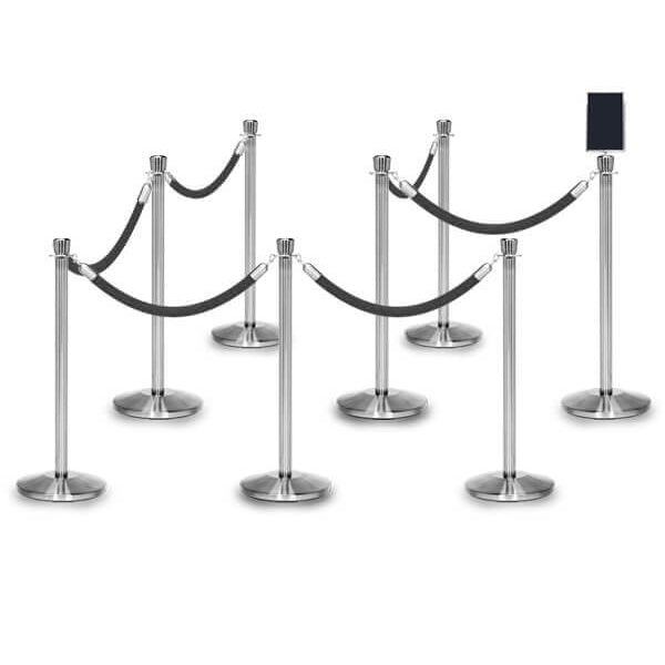 Bundle of 8 Classic Polished Stainless Stanchions - 6FT Ropes