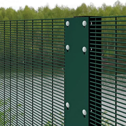 Green Coated Military Security Fence , Low Carbon Steel Prison Wire Fence