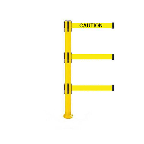 SafetyPro 250 Fixed Triple: 11-13ft Premium Safety Retractable Belt Barrier