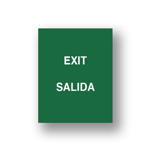 Green Exit/Salida (Double Sided Sign Insert)