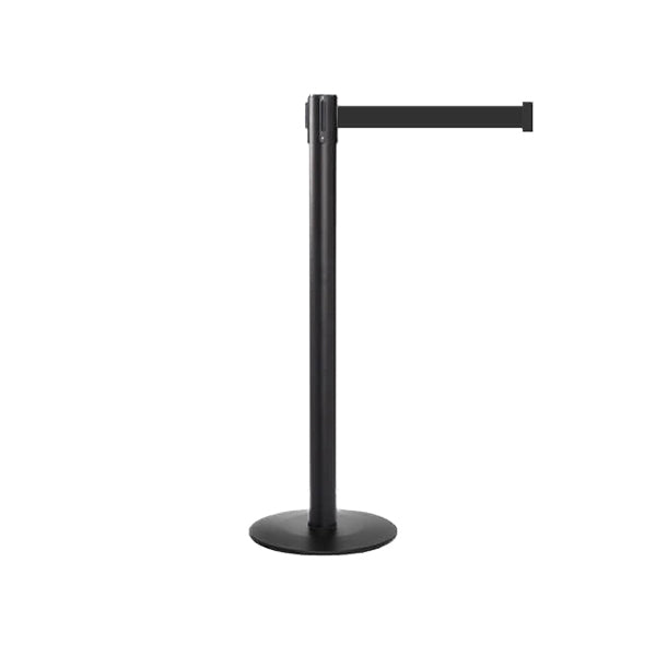 QueuePro Profile Post: 11-13ft Retractable Belt Barrier Black Post
