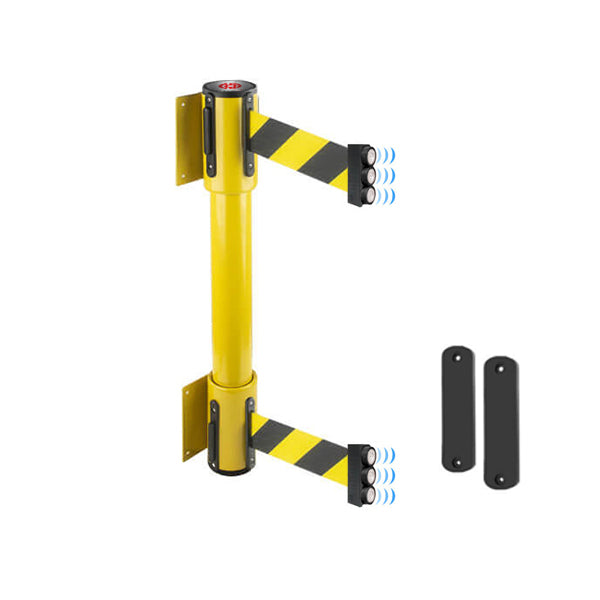 WallMaster 350 Magnetic Twin: 7.5-10ft Twin Wall Mounted Retractable Belt Barrier