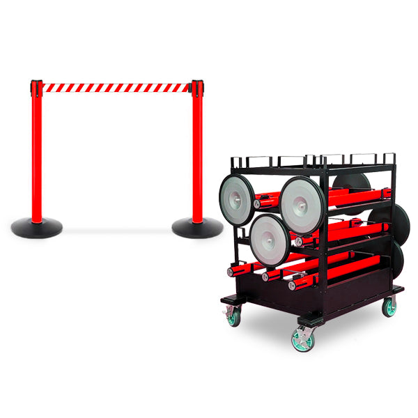 Mini Cart Package With Tray Set Of 10 Red Posts 13ft belt