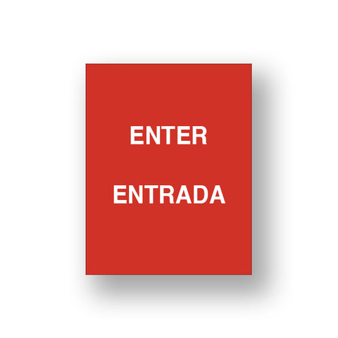Red Enter/Entrada (Double Sided Sign Insert)