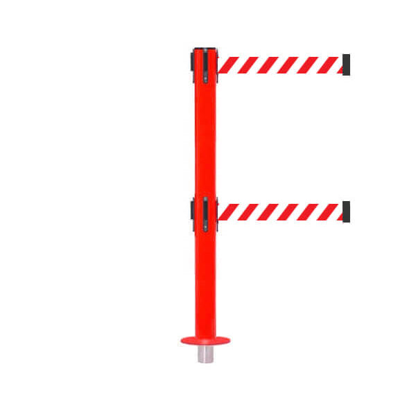 SafetyPro 250 Removeable Twin: 11-13ft Premium Safety Retractable Belt Barrier (Red)
