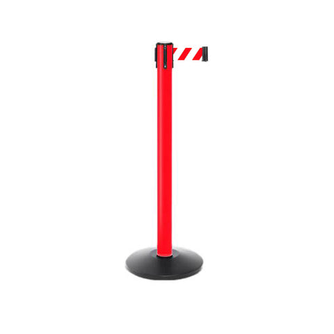 11ft Plastic Outdoor Stanchion Retractable Belt Barrier - Red CCD Series