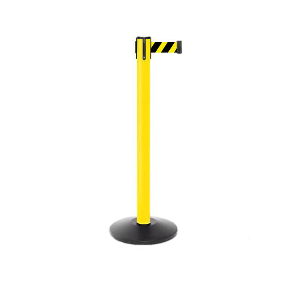 Value Series YW: 11ft Plastic Outdoor Stanchion Retractable Belt Barrier - Yellow