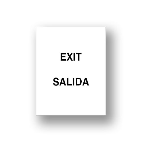 White Exit/Salida (Double Sided Sign Insert)