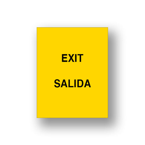 Yellow Exit/Salida (Double Sided Sign Insert)