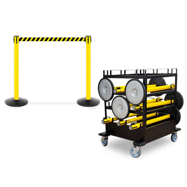 Mini Cart Package With Tray Set Of 10 Yellow Posts 13ft belt