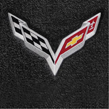 C7 Corvette Stingray Floor Mats - Lloyds Mats with C7 Crossed Flags: Jet Black