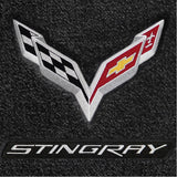 C7 Corvette Stingray Floor Mats - Lloyds Mats with C7 Crossed Flags & Stingray Script : Jet Black