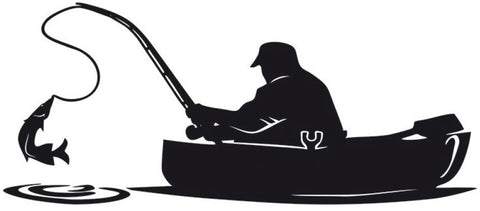 Fisherman on Boat with Fish on Line Decal Sticker