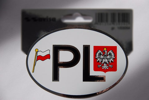 Polish Poland  PL Country Vinyl Decal Badge with Flag and Eagle -Chrome Border