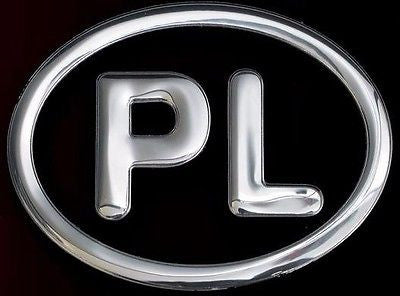 Polish Poland Aluminum PL Country Decal Badge