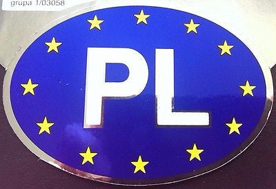 Polish Poland PL Country Decal Vinyl Decal with Euro Stars