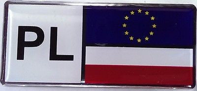 Poland PL Country Decal Badge with Flag and Euro Stars