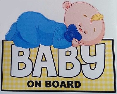 Cute Sleeping Baby on Board Boy Decal Sticker